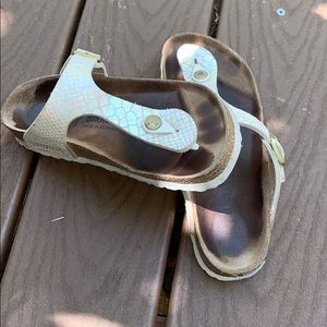Birkenstock Gizeh Sandals, Shiny Snake Cream 6